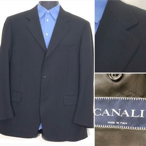 Canali Size 42R Black 3-Button Sport Coat